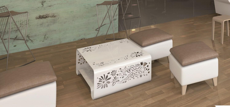 Mesa Ikebana baja de KÜPU. Calidad y diseño para interior y exterior